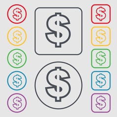 Dollar icon sign symbol on the round and square vector