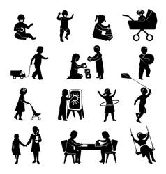 Children black set vector