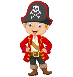 Cartoon little boy pirate captain vector