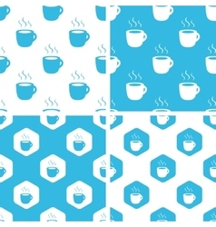 Hot drink patterns set vector
