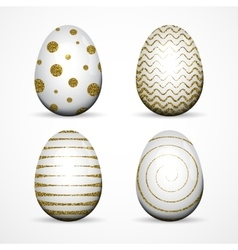 Set of white easter eggs with gold glitter vector