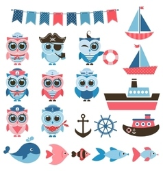 Sailor owls fish and water transport vector