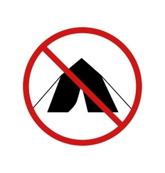 No tent camping forbidden sign on white vector