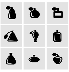 Black perfume icon set vector