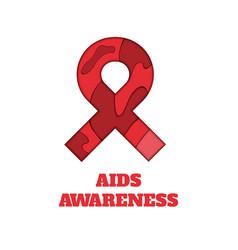 Aids awareness papercut ribbon vector