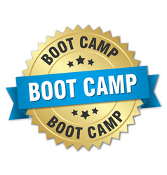 boot camp round isolated gold badge vector image vector image