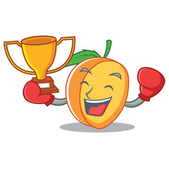 boxing winner apricot mascot cartoon style vector image