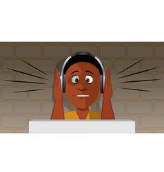 boy headphones loud vector image vector image