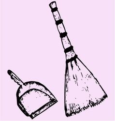 Broom dustpan vector