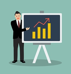 Businessman pointing to the blackboard vector image vector image