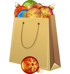 Cardboard packet full of Christmas glass balls vector image vector image