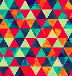 colored triangle seamless pattern with blot effect vector image