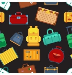 Colorful luggage seamless pattern black background vector