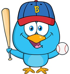 Cute Baseball Playing Bird Cartoon vector image vector image