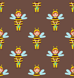 Cute bee kids wearing costume characters vector