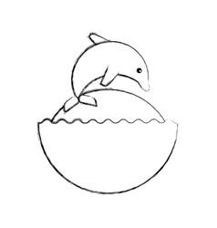 Cute dolphin isolated icon vector