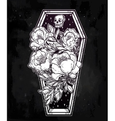 Decorative coffin in flash tattoo style vector