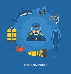 Diving Concept with Diver Man vector image vector image