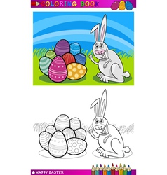 easter bunny cartoon for coloring vector image