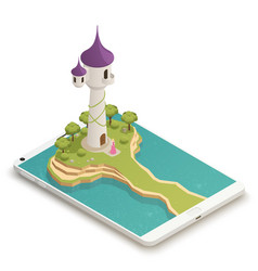 fairy tale smartphone isometric composition vector image vector image
