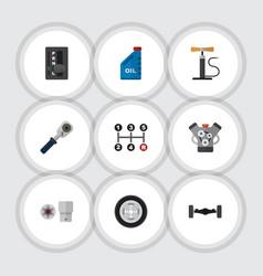 Flat icon workshop set of motor petrol wheel vector
