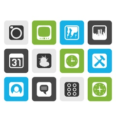 Flat mobile phone and computer icon vector