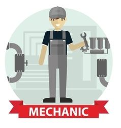 Flat modern design of Male mechanic cartoon vector image vector image