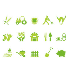 green color farm icon set vector image vector image