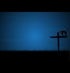 halloween growl black cat cross graveyard vector image