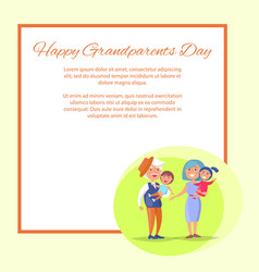 Happy grandparents day senior couple with children vector