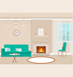 Living room interior with fireplace and furniture vector