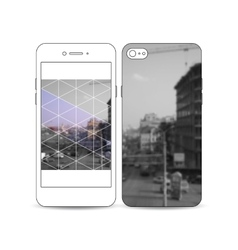 Mobile smartphone with an example of the screen vector image