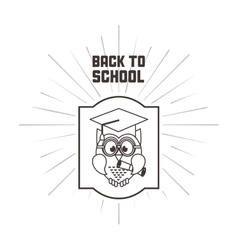 Owl cartoon icon back to school design vector