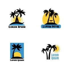Palm tree logo set vector