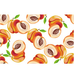 peach seamless pattern on white background vector image