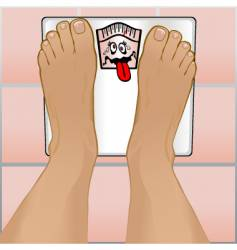 persons feet on weighing scale vector image vector image