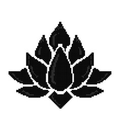 pixel art lotus icon isolated vector image vector image
