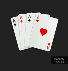 poker cards on dark background vector image