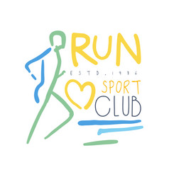 run sport club logo symbol colorful hand drawn vector image vector image