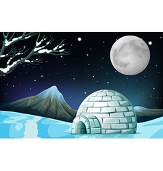 Scene with igloo on fullmoon night vector image vector image