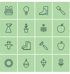 Set of 16 farm icons includes water monument vector
