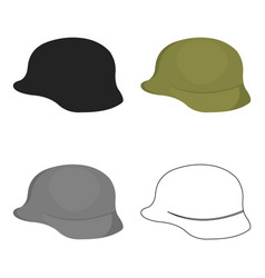 Soldier helmet military icon cartoon single vector