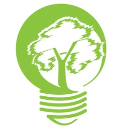 Tree inside light bulb vector