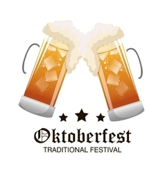 two glass beer oktoberfest graphic vector image