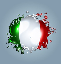 Water droplets with a italy flag vector
