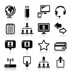 Web internet simple black icons set vector