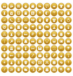100 dress icons set gold vector