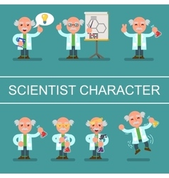 Mad cute flat professor scientist doctor set vector