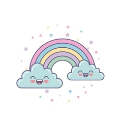 Cute clouds and rainbow drawing vector