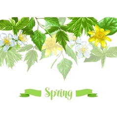 Spring green leaves and flowers background with vector